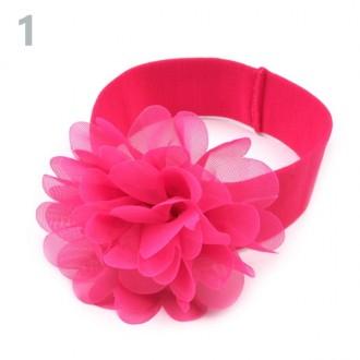 Detská elastická čelenka s kvetom (4 varinty)